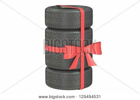 Gift set of tires wrapped ribbon and bow 3D rendering isolated on white background