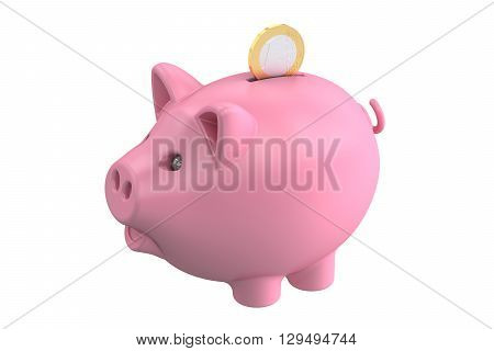Piggy bank and coin 3D rendering isolated on white background