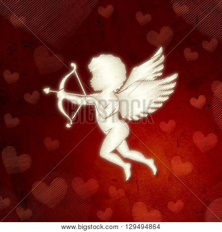 cupid silhouette with bow and arrow and hearts over red old paper celebration holiday valentine card