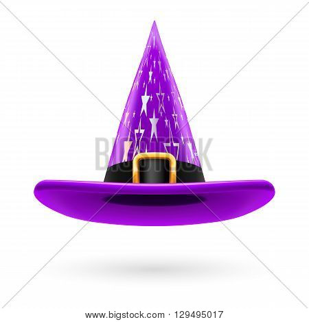 Violet witch hat with golden buckle hatband and silver stars ornament