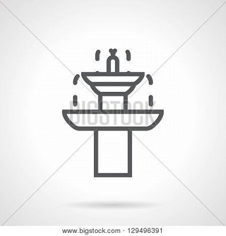 Dripping two-tiered fountain. Beautiful garden architecture for landscape decoration. Rest in garden. Simple black line vector icon. Single element for web design, mobile app.
