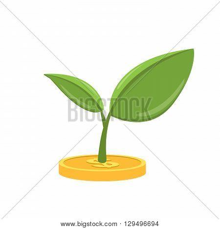 Money tree icon. Vector flat illustration isolated on white background