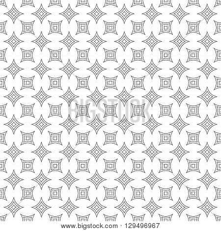 Repeating monochromatic vector curved star pattern design