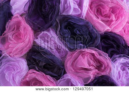 Background Of Pink And Purple Blossoms From Cloth