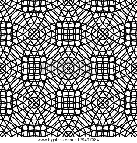 Repeating monochrome abstract cirlce grid pattern design