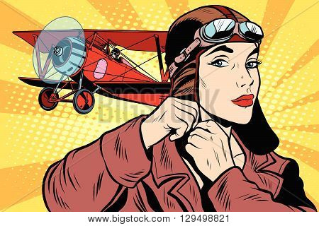 Girl retro military pilot pop art retro style. The army and air force. A woman in the army