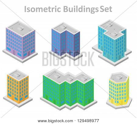 set of isometric buildings in multiple colors