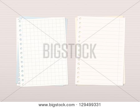 Colorful stacked squared, ruled notebook paper are on pink lined background.