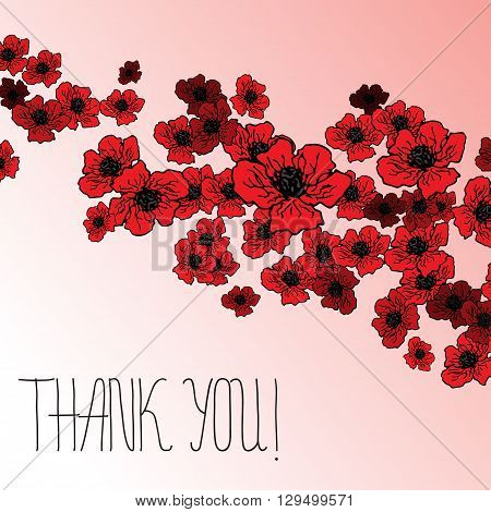 Summer or spring design of card with red flowers poppies with hand lettering text - Thank you. vector spring flower banner, spring flower card, invitation card, thanksgiving and other