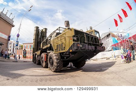 SAMARA RUSSIA - MAY 9 2016: The S-300 is a Russian anti-ballistic missile system at the central square during the parade on Victory Day