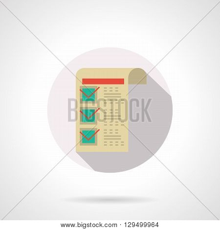 Sheet of paper with red checkmarks with long shadow. Medical prescription for drug treatment. Round flat color style vector icon. Web design element for site, mobile and business.