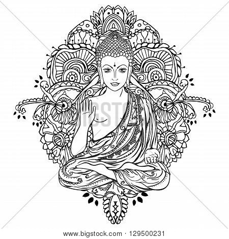 Ornament beautiful card with Buddha. Geometric element hand drawn. Medallion, yoga, india, arabic, lotus Buddha, was a sage on whose teachings Buddhism was founded. awakened one or the enlightened one