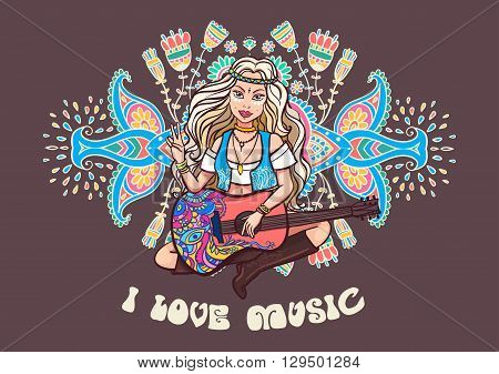 Hippie girl. Ornamental background. Love and Music with hand-written fonts, hand-drawn doodle background and textures. Hippy color vector illustration. Retro 1960s, 60s, 70s