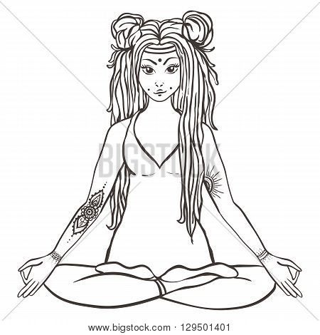 Hippie girl with dreadlocks Hippie style Yoga poses Love and Music with hand-written fonts, hand-drawn doodle background and textures. Hippy color vector illustration. Retro 1960s, 60s, 70s