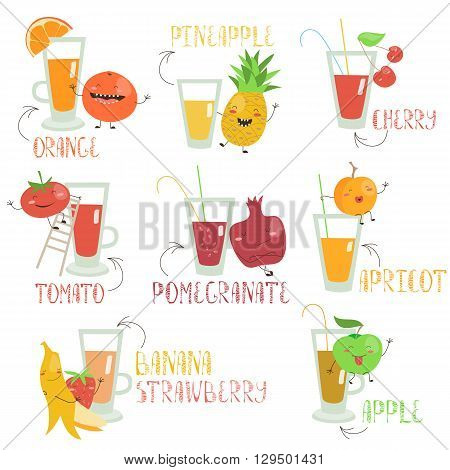 Juices set with cartoon fruits and vegetables. Vector isolated illustration