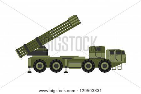 Military rocket launcher vector illustration. Weapon army rockets launcher and rockets launcher military war gun. Rocket launcher armed dangerous violent and explosive rockets launcher.