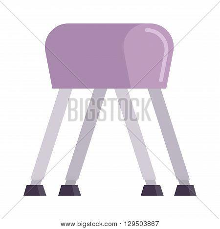 Sports pommel in gym isolated. Pommel horse flat vector and sport gym pommel horse. Pommel horse sport competition athlete gymnast. Pommel horse health body. Pommel horse training balance.