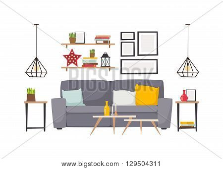 Stylish living room apartment interior with grey sofa and small coffee table. Light apartment interior with flooring and decorative signs. apartment interior. Apartment interior vector design.