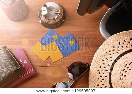 Tourist Objects On The Table In A Hotel Reception