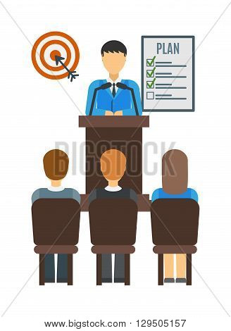 Speaker at business conference and presentation people. Audience at the conference hall. Conference people vector illustration. Conference people corporate indoors seminar professional.