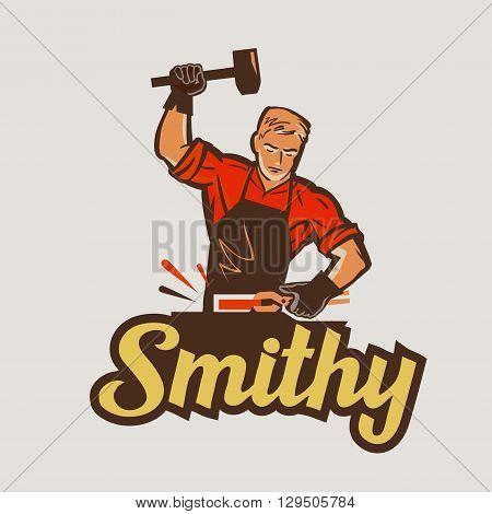 blacksmith with hammer in hand. vector illustration