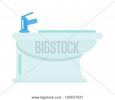 Luxury bathroom water closet bidet. Bidet bathroom toilet interior and white bidet design symbol. Domestic bidet contemporary, modern luxury bidet. Domestic apartment hygiene water bidet.