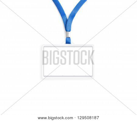 Blank badge mockup isolated on white. Plain empty name tag mock up hanging on neck with string. Nametag with blue ribbon and transparent plastic paper holder. Badge clipping path. Corporate design.
