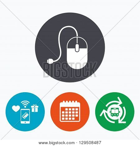 Computer mouse sign icon. Optical with wheel symbol. Mobile payments, calendar and wifi icons. Bus shuttle.