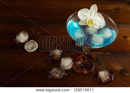Cocktail Blue Martini top view. Blue cocktail. Blue Martini. Blue margarita. Blue Hawaiian cocktail. Blue Lagoon. Blue curacao liqueur