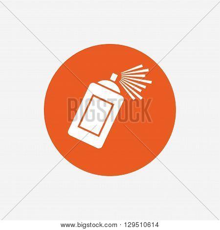 Graffiti spray can sign icon. Aerosol paint symbol. Orange circle button with icon. Vector