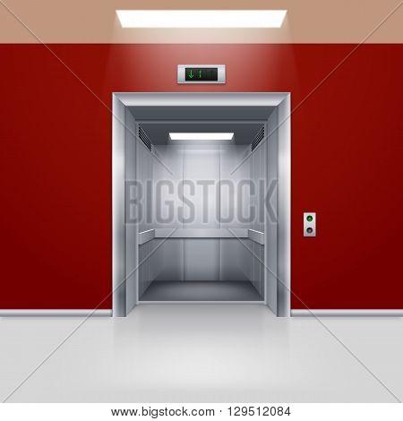 Realistic Empty Modern Elevator with Open Door in Red Hall