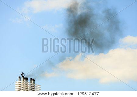 Vessel Chimneys Releasing Smoke.