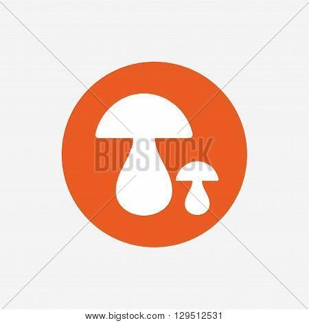 Mushroom sign icon. Boletus mushroom symbol. Orange circle button with icon. Vector