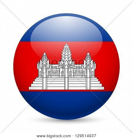 Flag of Cambodia as round glossy icon. Button with Cambodian flag