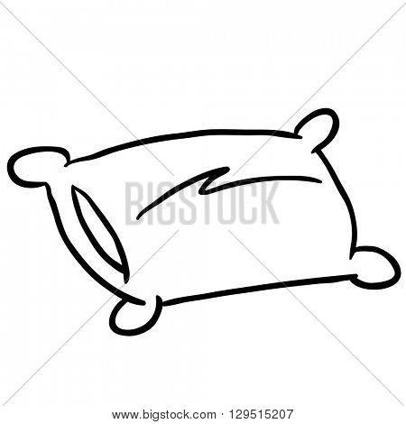 black and white pillow cartoon illustration isolated on white