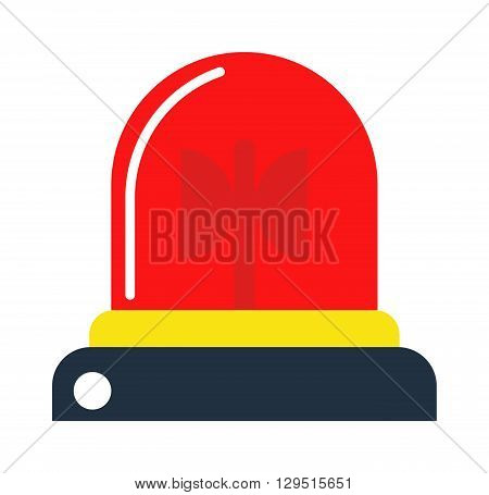 Police or ambulance red flasher siren logo. Flat style flasher alarm with line scatter rays. Flasher alarm design and flasher alarm emergency siren fire police ambulance security sign.