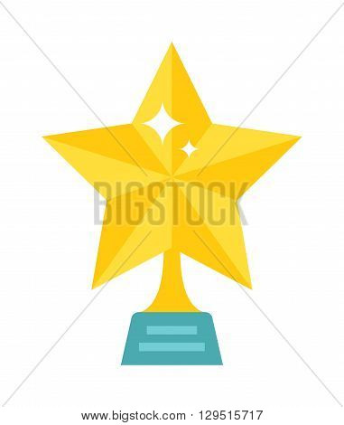 Gold star award on blank metal trophy isolated. Star award golden first place prize as an icon success and achievement star award sports or entertainment competition. Winner gold shiny star award.