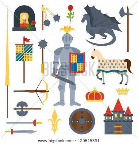 Heraldic knight symbols and elements vector set. Medieval kingdom legendary armored knight symbols warrior with lance and knight symbols attributes flat icons set abstract isolated vector.