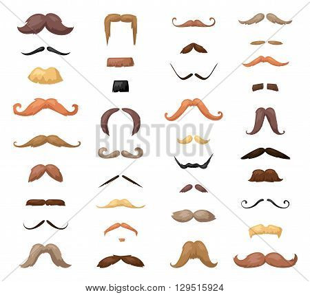 Huge set of vector mustache. Mustache black hair and man mustache hipster set. Mustache retro curly collection and face beard mustache. Mustache barber silhouette hairstyle hipster mask disguise.
