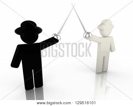 A black hat hacker is fencing with a white hat hacker 3D illustration internet security concept