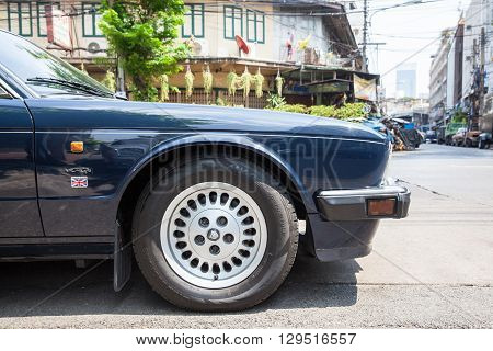 BANGKOK THAILAND - APRIL 24: Jaguar Sovereign parked on the street of Bangkok on March 24 2016 in Bangkok Thailand.