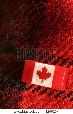 Canadian Stick Pin On Red Woolen Plaid Material