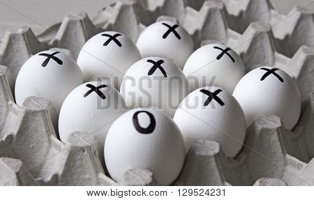Creative. Drawing on white eggs - dissimilar concept