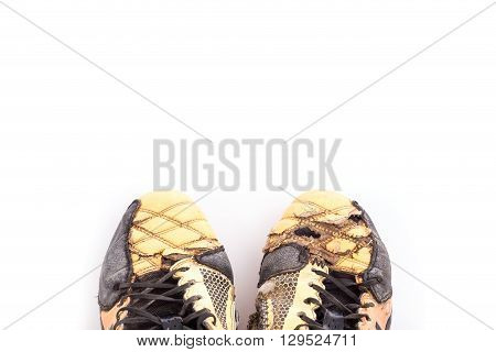 Old Football Shoes Isolated On White