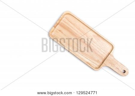Close Up Empty Flat Wooden Tray Isolated On White