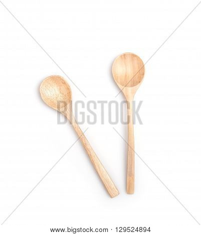 Close Up Wooden Spoon Isolated On White