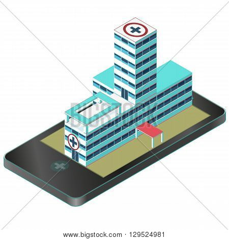 Isometric medical building in mobile phone. Nice pharmacy pictogram. Infographic element of hospital building. Isometric clinic hospital, chemistry. Flatten isolated illustration master vector.