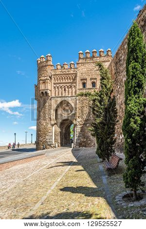 TOLEDO,SPAIN - APRIL 23,2016 - Gate of the Sun (Puerta del Sol) in Toledo. Toledo is a municipality located in central Spain.