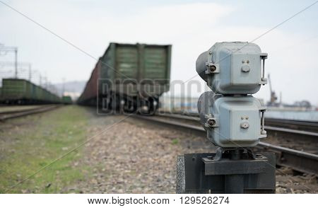 Rear view of the railway semaphore. Focus on semaphore. The rest look blurred.