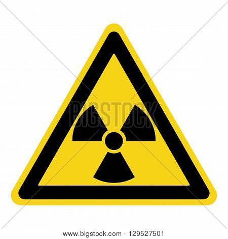 Radiation Hazard Sign. Symbol of radioactive threat alert. Black hazard emblem isolated in yellow triangle on white background. Danger label. Warning icon. Stock Vector Illustration